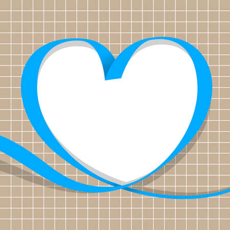 ribbon blue with heart shape on grid background, copy space, ribbon line heart-shaped, heart shape ribbon stripes light blue, border tape curl heart shaped for decoration greeting valentines love card