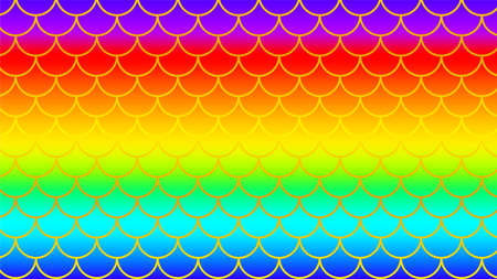 mermaid pattern golden on rainbow colorful background, fish scale pattern gold art line on rainbow background, mermaid tail pattern line art for decoration Stok Fotoğraf - 154726852