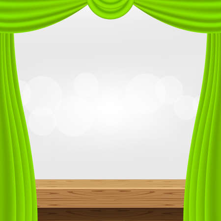 empty wood table and luxury green curtains for advertise product display, wooden top table decoration with curtains, wood plank board space for banner copy space text, tabletop front for banner ad Stok Fotoğraf - 154726854