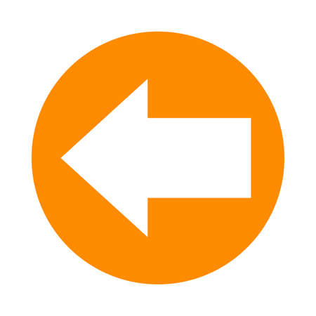 arrow pointing left in circle orange for icon flat isolated on white, circle with arrow for button interface app, clip art arrow sign, arrow simple symbol for direction Stok Fotoğraf - 154726858