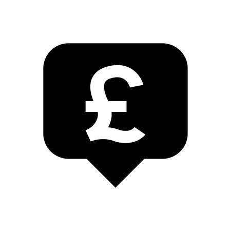 pound currency symbol in speech bubble square shape for icon, pound money for app symbol isolated on white, currency digital pound icon for financial concept Stok Fotoğraf - 154726859