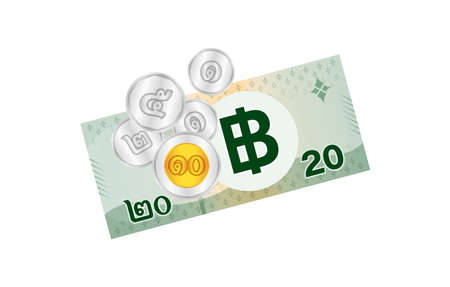 thai banknote money 39 baht isolated on white, thai currency thirty nine THB concept, money thailand baht for flat icon style, illustration paper money with B symbol graphic Çizim