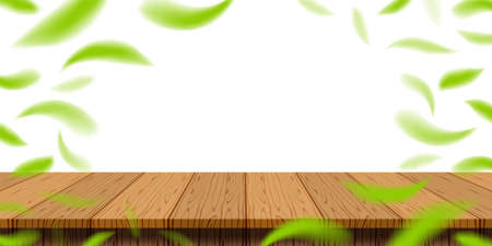 table plank wood with blur fallen leaves green fresh for banner background, wooden plank for advertise product display, table plank in front view, copy space Stok Fotoğraf - 154726982