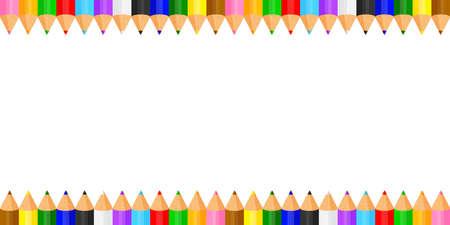 colorful pencils crayon pastel cute in a row on white copy space, collection colored pencils rows for banner preschool kids, clip art crayon pencil cartoon, rainbow pencil kindergarten child learning Vecteurs