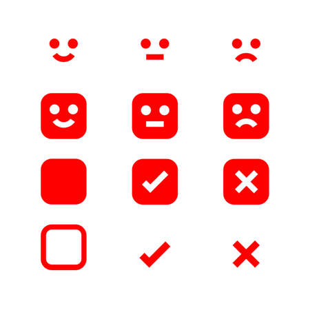 emotions face red icon, emotional symbol and approval check sign button, red emotions faces and check mark x or confirm and deny, button white flat for apps, red icons checkmark Stok Fotoğraf - 154727002