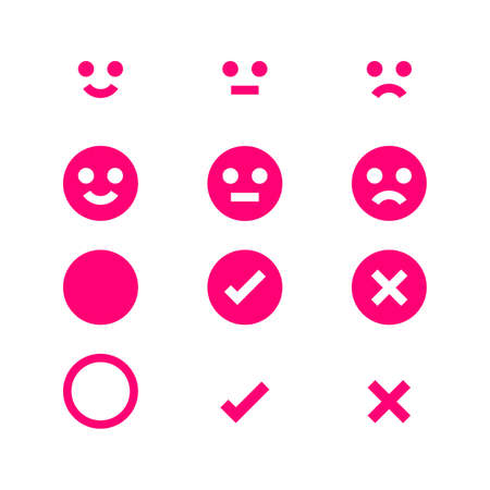 pink icon emotions face, emotional symbol and approval check sign button, pink emotions faces and check mark x or confirm and deny, button flat for apps, icons checkmark pink isolated on white Stok Fotoğraf - 154727003