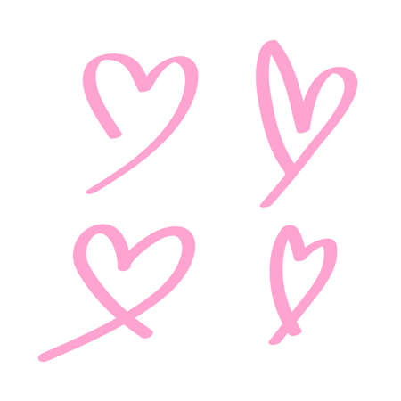 heart shape doodle line pink isolated on white, heart shape art line sketch brush for valentine, heart shape sign with hand drawn for element wedding icon love card, draw a line heart shape simple Stok Fotoğraf - 154727005