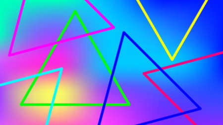 colorful light beam with triangle line shape for background, night light effect with colorful background, geometric triangle LED light be bright, neon light beam triangle shape for wallpaper graphic Stok Fotoğraf - 154727006