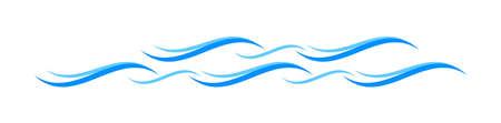 water waves blue symbol, water ripples light blue, ocean sea surface symbol, aqua flowing graphic Çizim