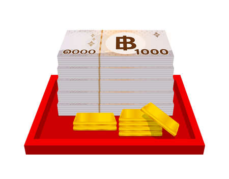 gold bars and stack thai money, gold bullion and banknote THB of thailand, financial business and savings concepts, thai baht money and gold bar in red tray, bank note paper money bullion gold