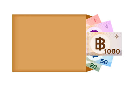thai baht banknote money in bag paper isolated on white, thai currency banknote THB many in the bag paper brown, money thailand baht for icon, illustration paper money with B symbol graphic