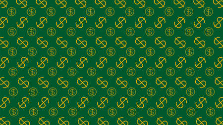 Dollar money sign pattern on green background, USD dollar currency symbol for wallpaper, dollar pattern for fabric print