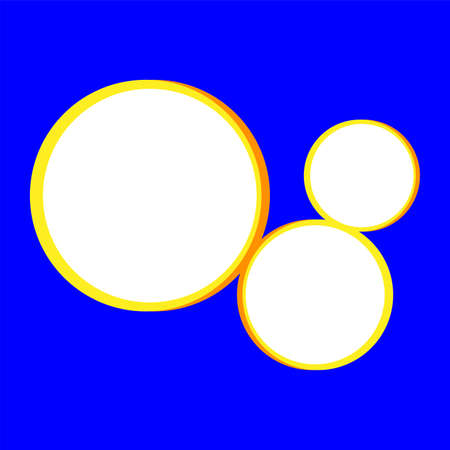 template banner square blue and circle blank for background, blue and circle frame empty for banner presentation, cover paper orange square for clip art, copy space text Çizim