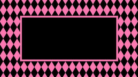 banner pink black rhombus pattern for background, black pink frame for cosmetics banner background, black pink in pattern diamond rhomb shape, copy space Çizim
