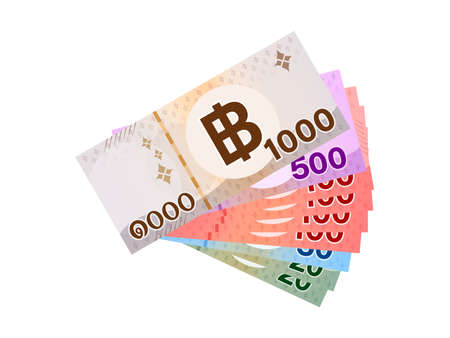 thai banknote money 1990 baht isolated on white, thai currency one thousand nine hundred and ninety THB concept, money thailand baht for flat icon style, illustration paper money with B symbol graphic