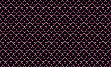 mermaid pattern, fish scale pattern art line pink on black background, mermaid tail pattern line art for decoration Çizim