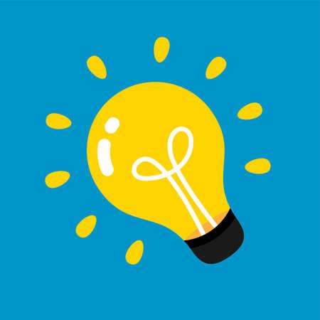 light bulb icon, idea creative and inspiration symbol, clip art light bulb, round light bulb illustration isolated on light blue