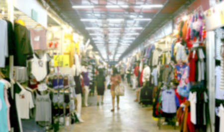 blurred shopping inside mall and clothing store, fashion shop at walking street market, clothing store fashion blur inside mall Stok Fotoğraf