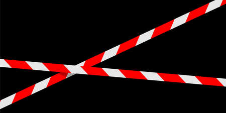 red white caution tape line isolated on black for banner background, tape red white stripe pattern, ribbon tape sign for comfort and construction safety zone, copy space text Çizim