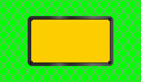 caution sign yellow rectangle placed on steel wire fence on green screen background, fence metal grid, wire iron fence isolated on green, copy space