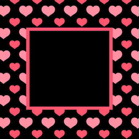 banner pink black heart pattern, square frame background, black pink frame with heart shape pattern, for valentine's day banner and card, heart shape black pink pattern for copy space