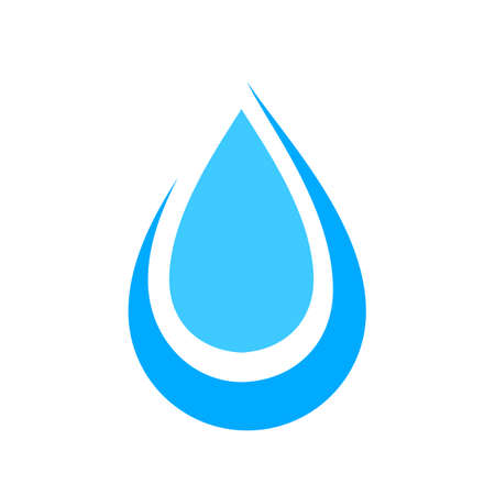 water drop isolated on white, droplet aqua, water fluid drop for logo design, graphic liquid shape for symbol