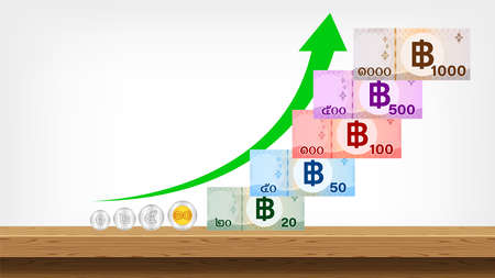 banknote money thai baht, arrow pointing up, savings money and success growth concept, currency 1000, 500, 100, 50, 20 and coin THB, money thailand baht and arrow progress for business finance