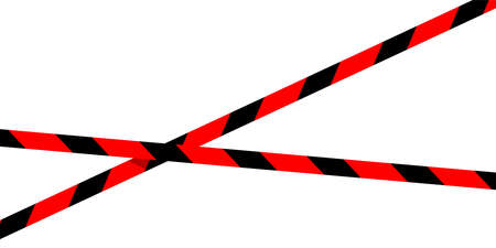 red black caution tape line isolated on white for banner background, tape red black stripe pattern, ribbon tape sign for comfort and construction safety zone, copy space text