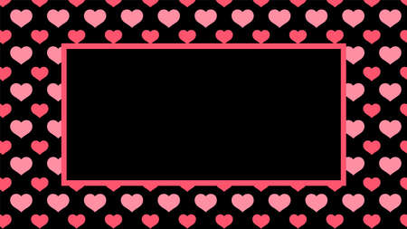 banner pink black heart pattern for background, black pink frame with heart shape pattern, for valentine's day banner and card, heart shape black pink pattern for copy space Çizim