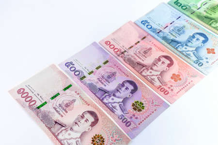 money banknote thai baht on white background, collection thai paper money, currency thailand Stock Photo