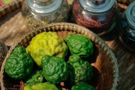 bergamot, kaffir, bergamot in the basket, kaffir for aromatic smell and spa massage