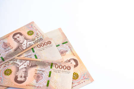 money banknote thai 1000 baht on white background, savings money and financial business concept, copy space Stok Fotoğraf