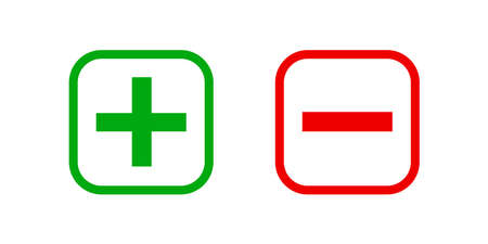 square minus and plus sign icons graphic, negative and positive symbol isolated on white, anode cathode sign red and green square buttons