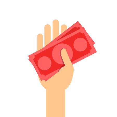 money banknote red in hand holding isolated on white, illustration money in hand, savings money concept