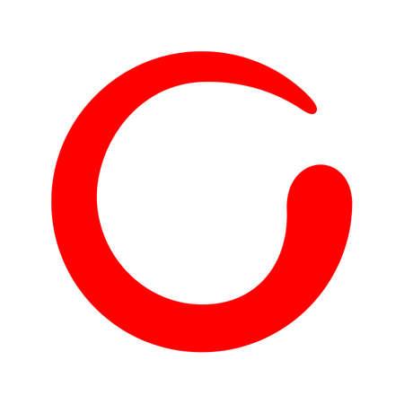 red zen circle isolated on white, zero spiral logo red with lines swirl shape, zen sign, zero symbol