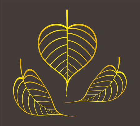 golden pho leaf graphic, pho leaves gold color, pho leaf art line for buddhist symbols 向量圖像
