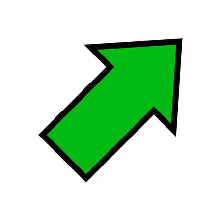 single green arrow, diagonal arrow sign right up isolated on white, arrow sign for direction