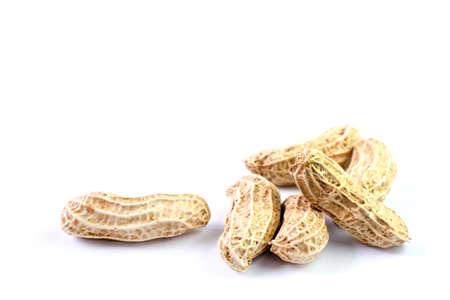 peanut, dried groundnuts, monkey nut on white background