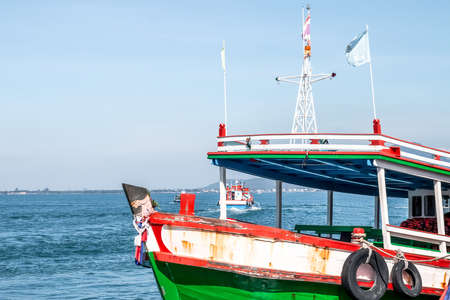 boat travel in ocean, tourism boat at coast thai, transport ship in the sea