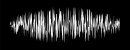 sound signal waveform, audio wave line on black, sound wave for voice recording music, music audio symbol or radio waveform Çizim