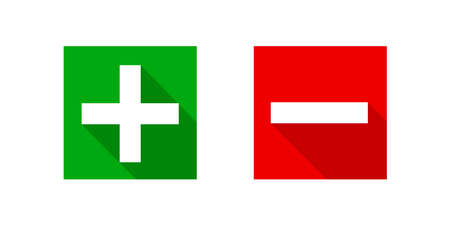 square minus and plus sign icons modern graphic, negative and positive symbol isolated on white, anode cathode sign red and green square buttons