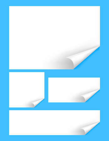 paper mock-up template a4, paper with curl corner, empty white paperwork a4 layout, blank rectangle paper set isolated on light blue