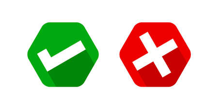 checkmark and x or tick confirm icon, check mark choice symbol, checkbox button for choose, answer box for checklist, approval check red green sign