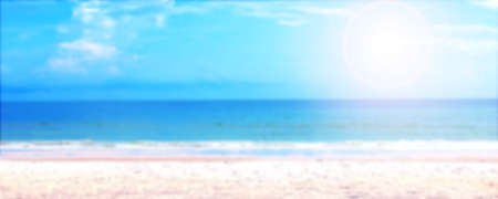 blurred sea and sky summer background, landscape ocean blur image, tropical beach and sunlight for holiday background