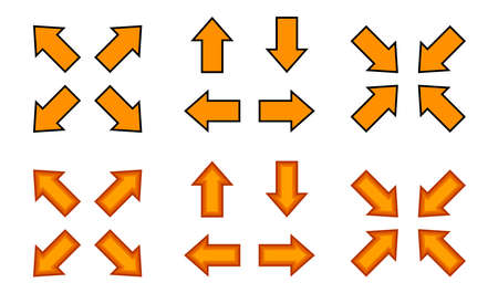 orange arrow and diagonal arrow sign for map, arrow button for graphic game, arrow for direction