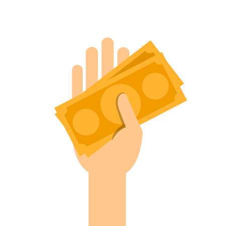 money banknote orange in hand holding isolated on white, illustration money in hand, savings money concept