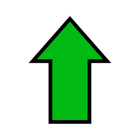 single green arrow, rising arrow sign up isolated on white, arrow sign for direction