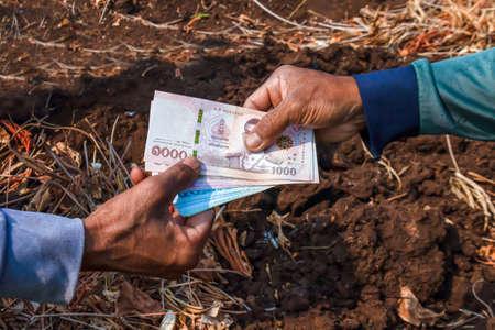 farmer are holding banknote money thai baht in hand, land trading, giving donate money, (employment money for employee labor, farmer and gardener concept), money in hand for give concept 版權商用圖片