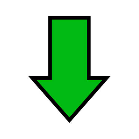 single green arrow, arrow down sign isolated on white, arrow sign for direction 向量圖像