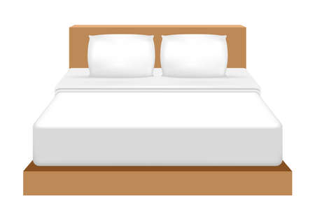 Double bed isolated on white